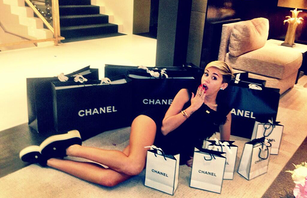"""Miley Cyrus tweeted:The damage is done ❤ @CHANEL"""""""